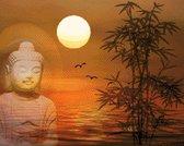 MyHobby Borduurpakket –  Boeddha bij zonsondergang 50×40 cm - Aida stof 5,5 kruisjes/cm (14 count)