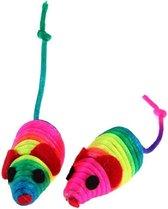 kattenspeelgoed 2 stuks  - muizen - katten muisjes - regenboogkleuren muis - spelen katten - muis - poesen speelgoed - 2 muisjes