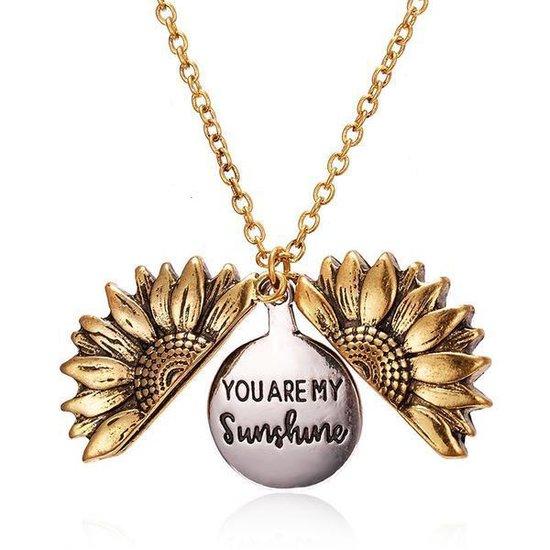 'YOU ARE MY SUNSHINE' Zonnebloem ketting - Sunflower ketting - Sunflower juweel - Sunflower necklace - Goudkleurig
