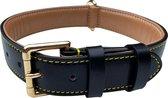 Brute Strength - Luxe leren halsband hond - Zwart - L - 61 x 3,5 cm - leren hals band
