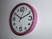 Glitter klok Roze/Wit 30 cm