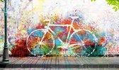Fiets graffiti  - Schilderij 118 x 70 cm