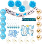 Versier Pakket It's a Boy babyshower versiering blauw - Baby Shower decoratie geboorte jongen