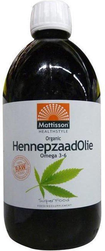Mattisson Hennepzaadolie Organic Raw - 500 ml - Voedingssupplement - Superfood