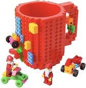 Lego Mok/ Build on Brick Mug - rood - 350 ml - bouw je eigen mok met bouwsteentjes - BPA vrije drinkbeker cadeau voor kinderen of volwassenen - koffie thee limonade of andere dranken - pennenbeker - creatief accessoire voor op bureau -HnD