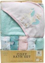 Set Baby badset | Baby Badcape met capuchon + 5 doekjes Unicorn Roze Baby meisjes | Baby wikkeldoek | cadeauset