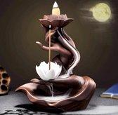 Backflow wierook brander / houder 17cm handen met lotus waterval Bruin & Wit keramiek Feng Shui