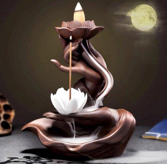Backflow wierook brander / houder 17cm handen met lotus waterval Bruin & Wit keramiek + 20stuks XL Kegels Feng Shui