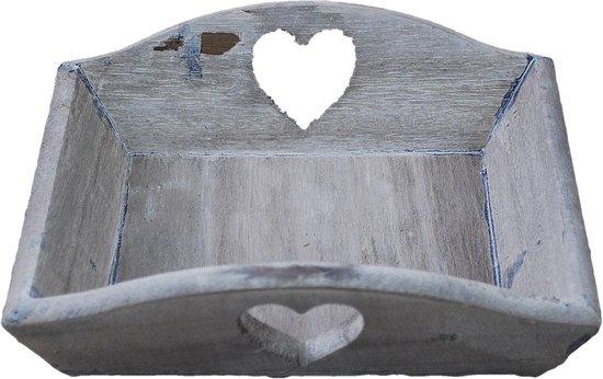 12 stuks - Tray hout PH design 19x19x4cm nw bruin/white wash hart