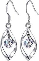 420 - 925 Zilveren oorhangers met Zirkonia steentje