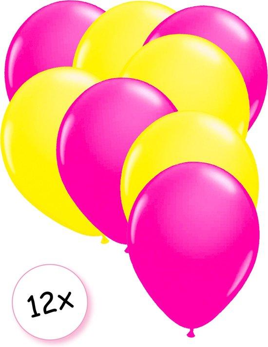 Ballonnen Neon Roze & Neon Geel 12 stuks 25 cm