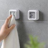 2 stuks set - Zelfklevende Handdoek Houder | Ophang Klem Keuken Badkamer Toilet | Handdoek Theedoek Vaatdoek | Handdoekhouder | Wandklem Theedoek | Wit met Transparant
