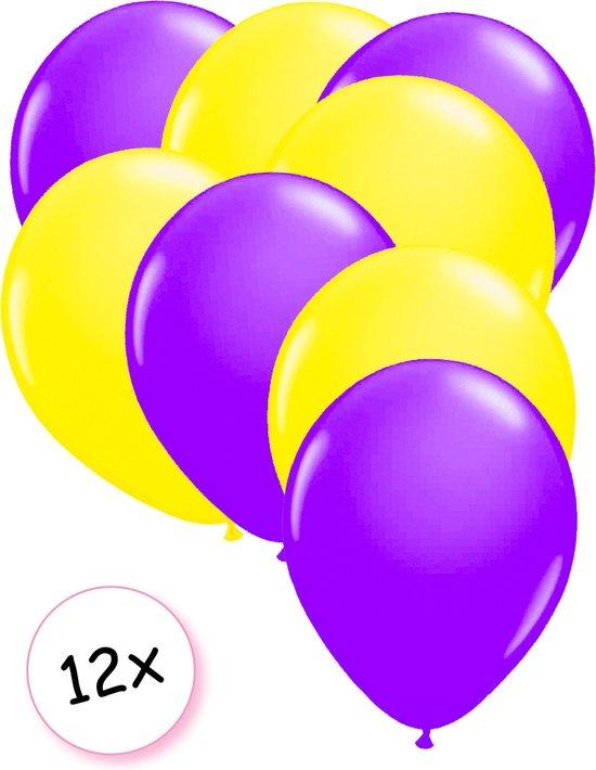 Ballonnen Neon Paars & Neon Geel 12 stuks 25 cm