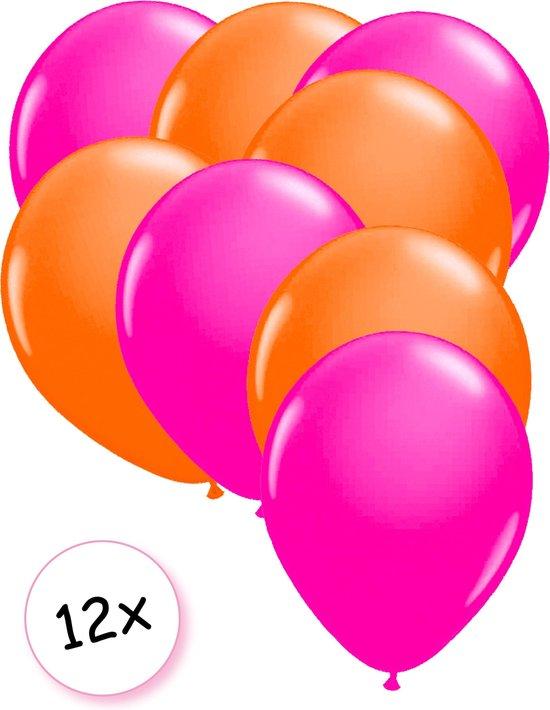 Ballonnen Neon Roze & Neon Oranje 12 stuks 25 cm