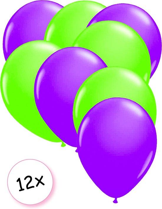 Ballonnen Neon Paars & Neon Groen 12 stuks 25 cm