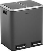 Homra BLINQ afvalscheiding prullenbak met 2 vakken - 2 x 15 L inhoud - Duo pedaalemmer in Grijs - Afvalemmer 30 Liter