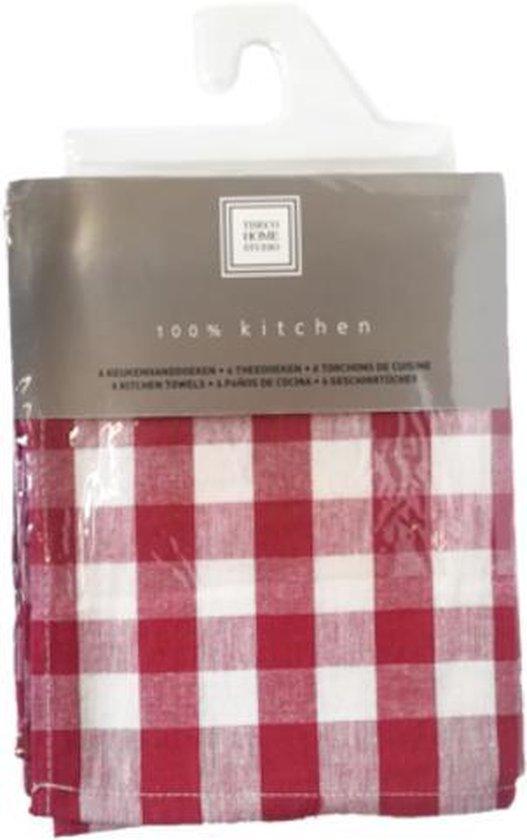 Set van 6 keukenhanddoeken Rood 50x70cm