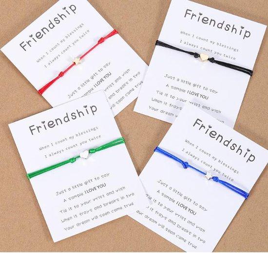 vriendschapsarmband / wens armband- 2 stuks - Vriendschaps armband met boodschap! Één voor jou, één voor je vriend(in) - Gratis verzending - Vriendschap – Hartje Zwart