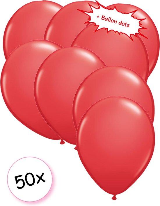 Ballonnen Rood 50 stuks 27 cm + Ballon Lijm Plakkers - Plafond Stickers