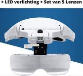 Professionele Loepbril - LED Verlichting, inclusief 3 x AAA-batterijen + 5 Lenzen (1x, 1,5x 2x 2.5x 3.5x) - Bril met Vergrootglazen - Ideaal voor Diamond Painting / Schilderen / Handwerken / Nail Art / Lezen / Modelbouw
