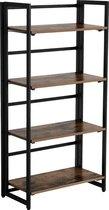 MIRA Home - Boekenrek - Vakkenkast - Metaal - Hout - Bruin - 125x60x30