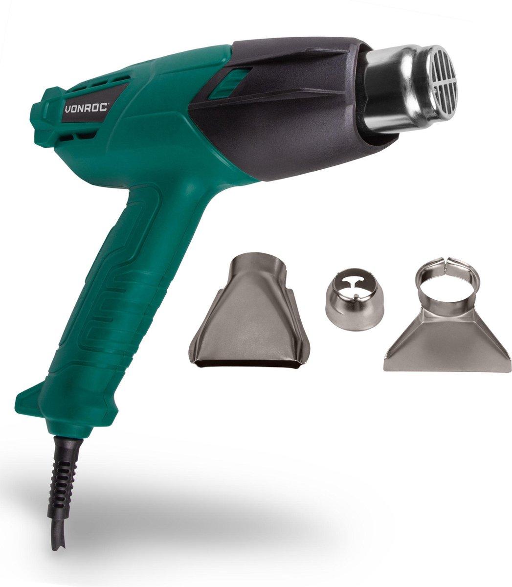 VONROC Heteluchtpistool   Verfafbrander   2000W   2 temperatuurstanden   Incl. Accessoires & tas