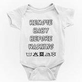 Baby rompertjes met tekst: Remove baby before washing   74/80   Vaderdag   Moederdag   Cadeau   korte mouw   Wit   papa