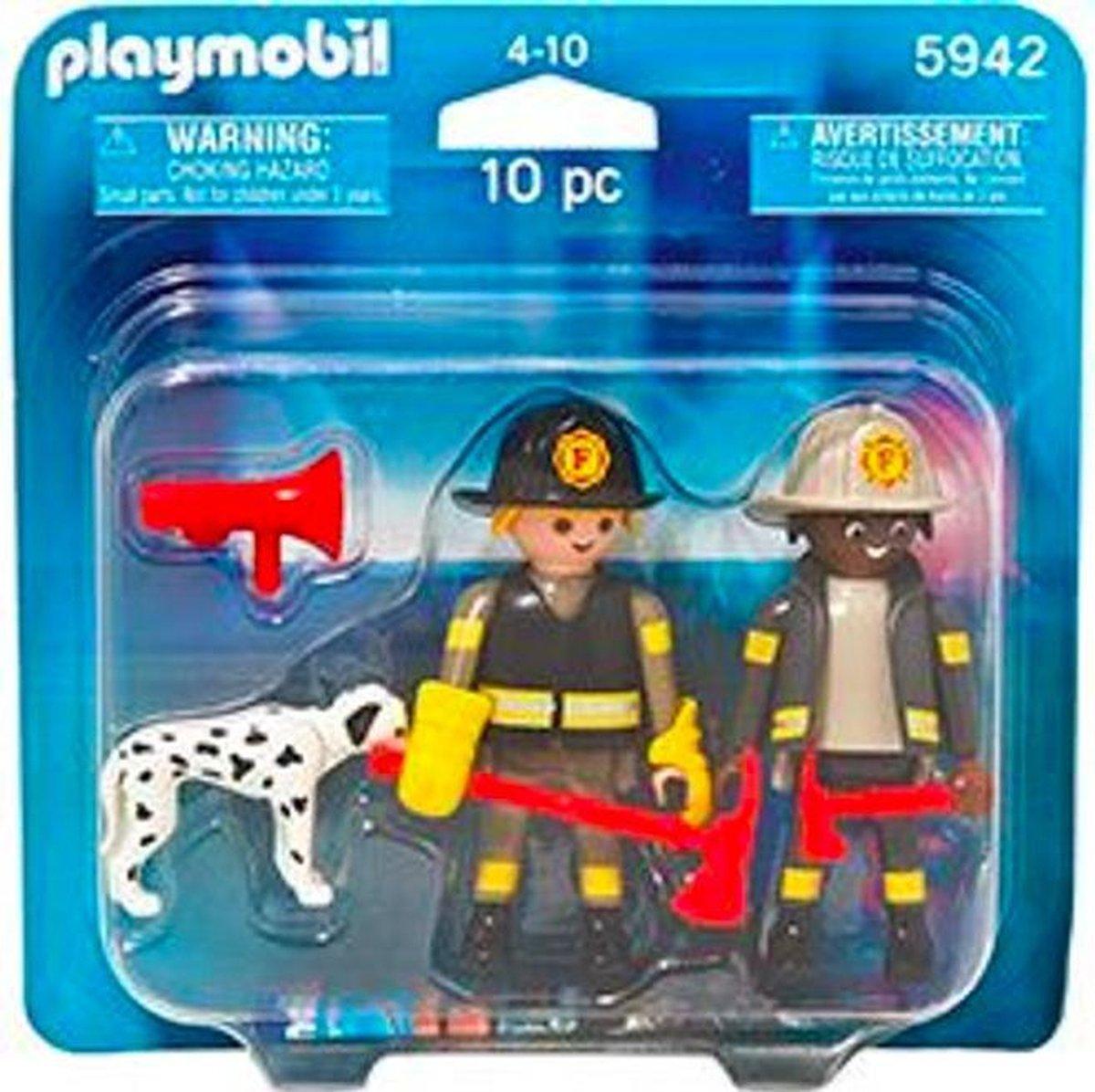 Playmobil DuoPack 2 Brandweermannen en Reddingshond - 5942