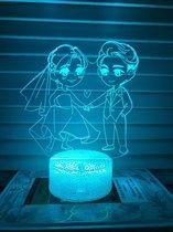 Nachtlampje liefde beeld. Nachtlamp twee geliefden. Huwelijk lampje. 3D illusie tafelnachtlamp 7-kleurig
