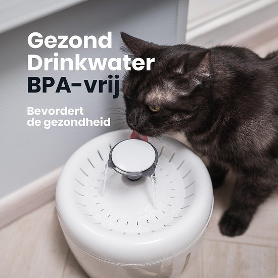 Drinkfontein voor Katten - TrevoPet® - Waterfontein Kat - Kattenfontein - Drinkfontein Kat - 2.5 Liter - Fluisterstil - Inclusief Filter