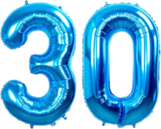 Folie Ballon Cijfer 30 Jaar Blauw 86Cm Verjaardag Folieballon Met Rietje