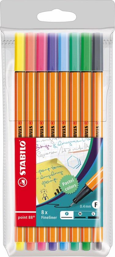STABILO point 88 - Fineliner 0,4 mm - Speciale Etui - Met 8 Pastel Kleuren
