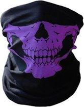 Balaclava Gezicht Shield Tactische Masker Paars 3D Schedel Sport Nek Warm Motor Masker Volgelaatsmasker Winddicht Motorfiets Mondkap Ski Outdoor Sport - Snel drogend - ademende stof