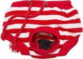 Loopsheidbroekje Hond - Dierenkleding -  Rood gestreept - L
