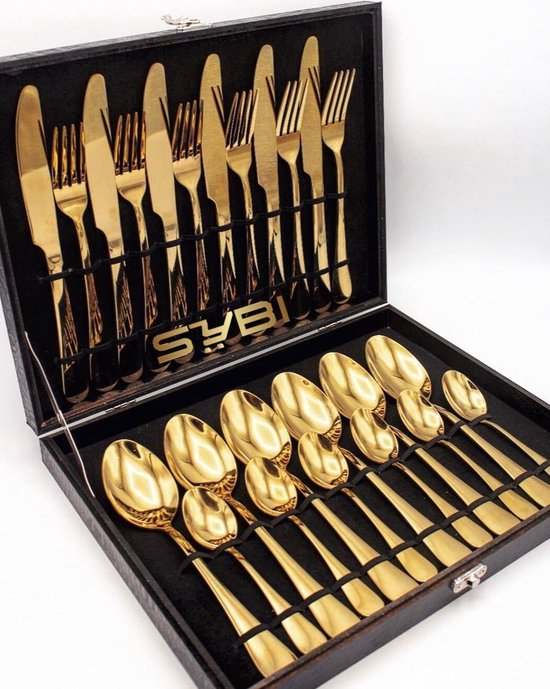 Goud Bestek - Bestekset - 24 delig - 6 persoons - Inclusief zwarte luxe opbergkoffer - SYBI Home
