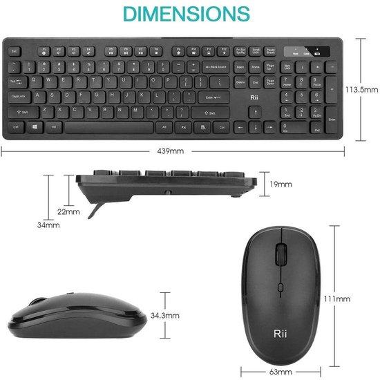 | Rii RK102 draadloos toetsenbord en muis set (Incl