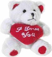 Mini witte knuffel beertjes   I love you hartje van 10 cm - Moederdag/Valentijn/Bruiloft/Lieve oma cadeau sturen