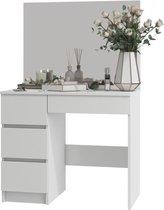 AZ-Home - Kaptafel Lisa Links - Make up tafel met spiegel - Opmaaktafel Wit - 90 x 77 x 50 cm (LxHxD)