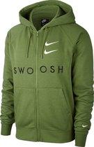 Nike Nsswoosh Hoodie Fz Ft Sporttrui Heren Treeline/Black/White - Maat M
