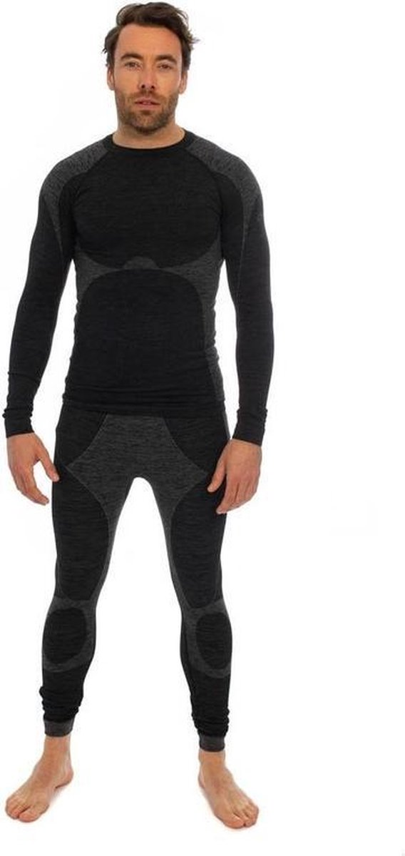 Thermo onderkleding set voor heren zwart melange - maat L - shirt lange mouw en broek - Wintersport kleding - Thermokleding