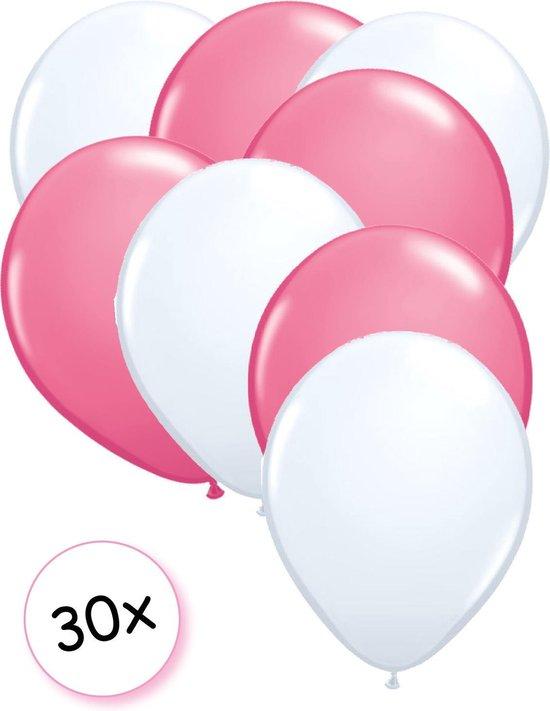 Ballonnen Wit & Roze 30 stuks 27 cm