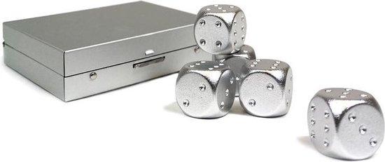 Aretica Dobbelstenen set van 5 - Aluminium doosje met 5 aluminium dobbelstenen - Spelletjes spelen - Aluminium - Gezelschapsspel - Bordspel - Dobbelen