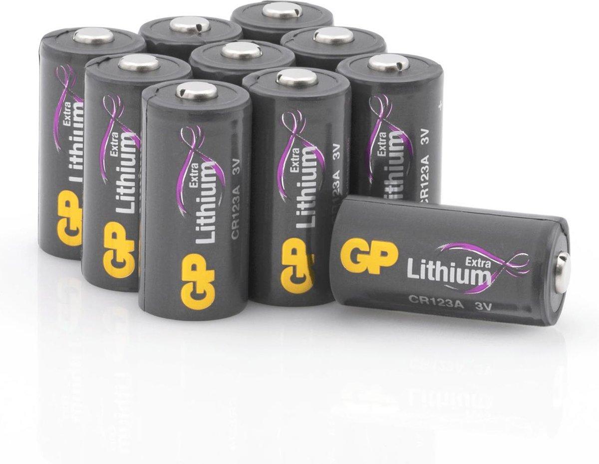 GP Extra Lithium batterijen CR123A 3V batterij CR123 - 10 stuks, CR123A batterij in plasticvrije ver