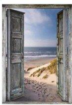 Happy Painter® Diamond Painting volwassenen natuur - Deur met strand- en zeezicht - 30x40cm volledig pakket