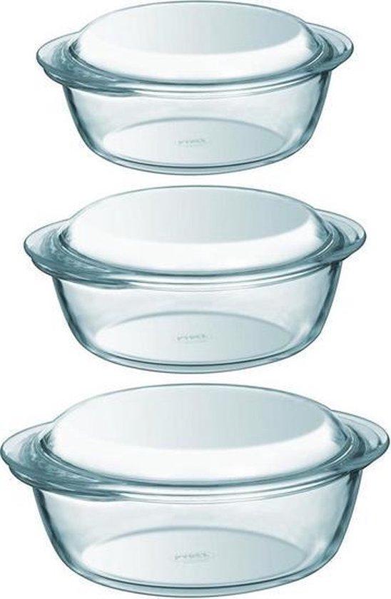 3x Ronde glazen ovenschalen met deksel 1,4/2,1/3 liter - Ovenschaal/braadslede - Ovenschotel schalen - Bakvorm