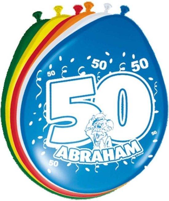 32x Ballonnen versiering 50 jaar Abraham thema feestartikelen 50 geworden