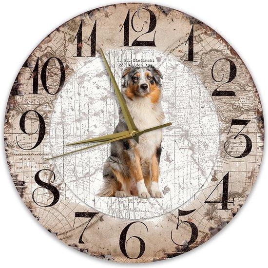 Houten Klok - 30cm - Hond - Australian Shepherd Dog
