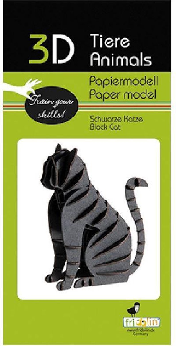 3D puzzel en bouwpakket zwarte kat van karton