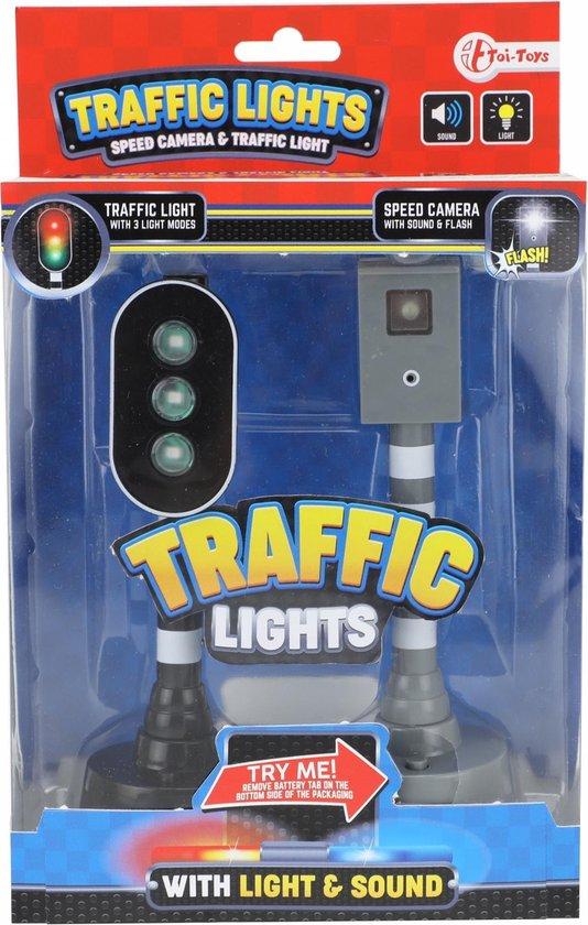 Afbeelding van Toi-toys Flitspaal En Verkeerslicht Met Licht En Geluid Zwart 15 Cm speelgoed