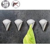 Zelfklevende Handdoekhouder Haakjes Set - Wand Ophang Haak Zelfklevend -Handdoekklem Keuken Ophanghaak Zonder Boren - Wand Theedoek / Handdoek Klem Houder - RVS - Set Van 4 Stuks - EVA